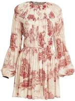 Chloé Toile de Jouy Gathered Silk Dress