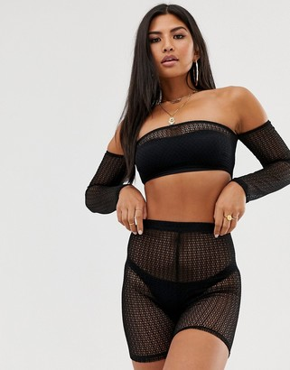Bardot Asos Design ASOS DESIGN beach crop top in jersey fishnet co-ord-Black