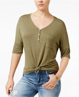 Rebellious One Juniors' Knotted Henley T-Shirt
