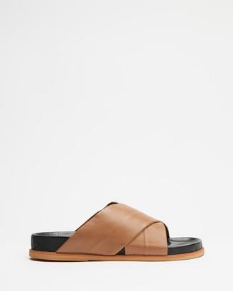 James Smith JAMES   SMITH - Women's Brown Flat Sandals - La Sponda Slides - Size 38 at The Iconic