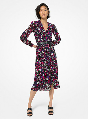 MICHAEL Michael Kors MK Floral Georgette Shirtdress - Caramel - Michael Kors
