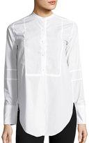 Helmut Lang Poplin Tuxedo-Bib Blouse, White