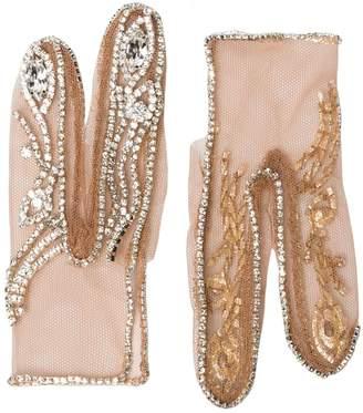 FROLOV crystal-embellished two-finger gloves