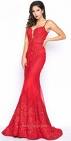 Mac Duggal Plunging Sweetheart Fitted Lace Evening Gown