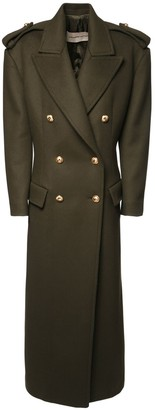 Alexandre Vauthier Double Breasted Melton Wool Long Coat