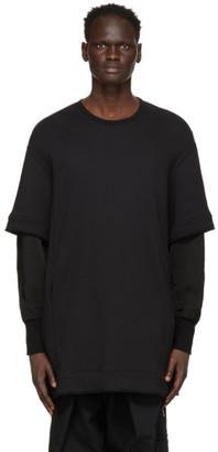 Julius Black Layered Sleeve Sweatshirt