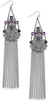 INC International Concepts Hematite-Tone Stone and Fringe Chandelier Earrings, Created for Macy's