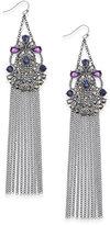 INC International Concepts Hematite-Tone Stone & Fringe Chandelier Earrings, Created for Macy's