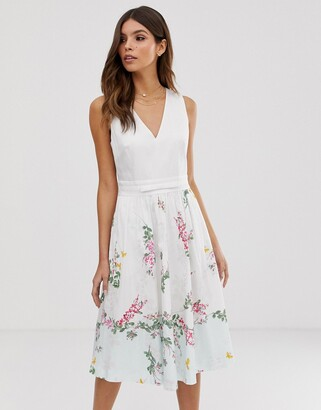 Ted Baker Reyyne printed midi dress-White