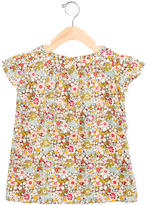 Bonpoint Girls' Floral Print Gathered Top