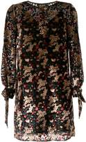Paule Ka LS VELVET LOOSE FIT DRS_MULTI COL MINI FLOWER PTN_W/ RIBBON ON CUFF_67%VI 33%PA 50CM