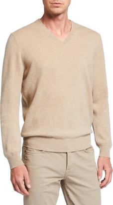 Neiman Marcus Men's Cloud Solid V-Neck Cashmere Sweater