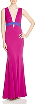 Nicole Miller Viola Stretch Crepe Color-Blocked Gown