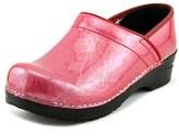 Sanita Signature Pearl Metallic Women Round Toe Patent Leather Pink Clogs.