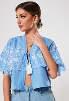 Missguided Blue Embroidered Tassel Tie Front Top