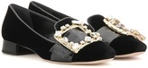 Miu Miu Crystal-embellished Velvet And Patent Leather Pumps