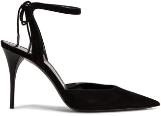 Saint Laurent Lexi Ankle Strap Pumps in Nero | FWRD