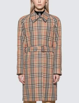 Burberry Vintage Check Nylon Belted Car Coat