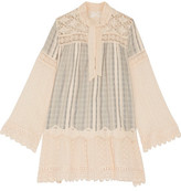Anna Sui Lace-Paneled Striped Cotton-Gauze Mini Dress