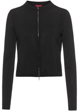 HUGO BOSS Zip-through jacket with knitted lace effects