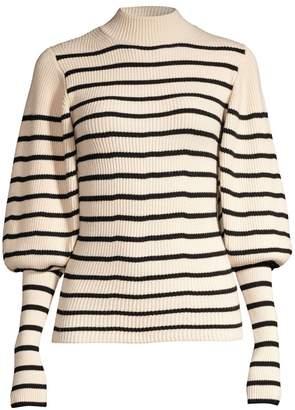 KHAITE Joanne Striped Puff-Sleeve Sweater