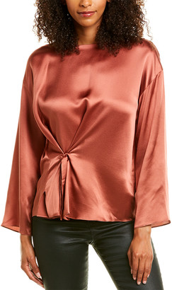 Vince Knot-Front Silk Blouse