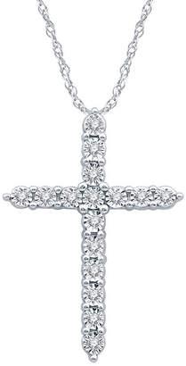 Silver Cross Fine Jewelry Womens 1/10 CT. T.W. Genuine Diamond Sterling Pendant Necklace