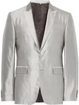 Burberry - Grey Slim-fit Slub Silk Tuxedo Jacket