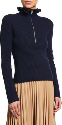 Chloé Ruffle Quarter-Zip Wool-Blend Turtleneck Sweater
