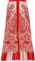 Alexander McQueen Paisley-print Silk Crepe De Chine Midi Skirt - Red