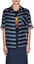 Fendi Women's Embroidered Striped Silk Organza Blouse