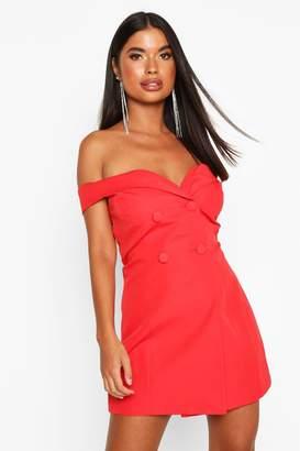 boohoo Petite Off The Shoulder Blazer Dress
