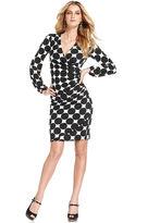 INC International Concepts Dress, Long-Sleeve Polka-Dot Jersey