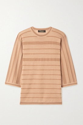 Loro Piana Kimono Essaouira Striped Cashmere And Silk-blend Sweater - Camel