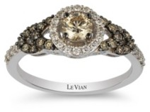 LeVian Chocolate Diamonds (1/2 ct. t.w.) and Vanilla Diamonds(1/5 ct. t.w.) Ring in 14k White Gold