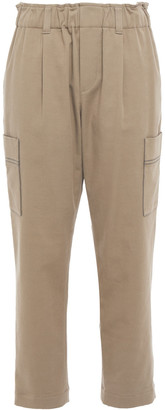 Brunello Cucinelli Cropped Bead-embellished Cotton-blend Twill Tapered Pants