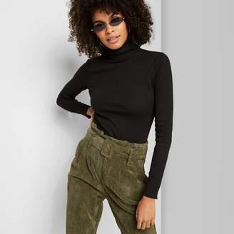 Women's Long Sleeve Mock Turtleneck Rib-Knit T-Shirt - Wild FableTM