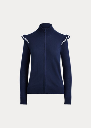 Ralph Lauren Ruffle-Trim Zip Golf Sweater