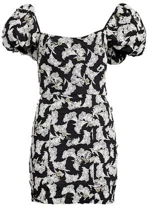 Johanna Ortiz Al Anochecher Embellished Mini Floral Puff-Sleve Sheath Dress