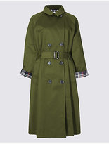M&S Collection Pure Cotton Trench Coat with StormwearTM
