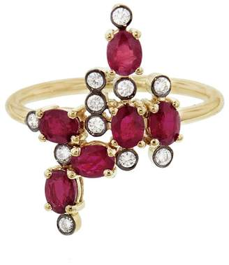 Yannis Sergakis Adornments Charnieres Vertical Rouge And Diamond Ring