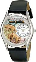 Whimsical Watches Women's S0620015 Stock Broker Black Leather Watch
