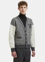 Saint Laurent Y Patch Varsity Cardigan In Grey