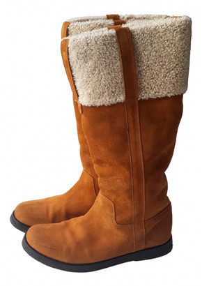 Saint Laurent Camel Shearling Boots