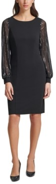 Jessica Howard Sheer Balloon-Sleeve Shift Dress