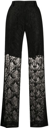 MSGM Floral Lace Straight-Leg Trousers