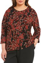 Allison Daley Plus 3/4 Sleeve Printed Pucker Knit Top