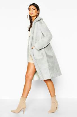 boohoo Faux Suede Lined Button Through Faux Fur Coat