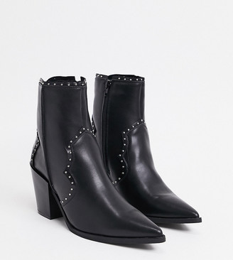 Truffle Collection wide-fit western mid-heel ankle boots in black