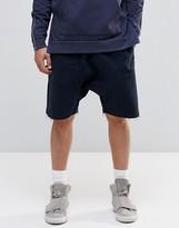 Asos Drop Crotch Shorts With Drawstring Waist In Navy